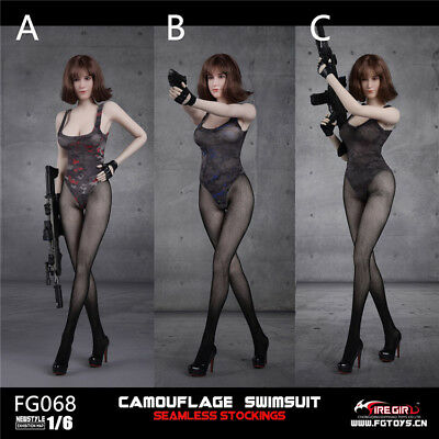 1//6 Fire Girl Toys FG068C Camouflage Swimsuit Seamless Stockings Sights Clothes