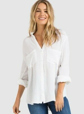 b679afa1 NEW CLOTH & STONE SzS TWO POCKET BUTTON DOWN LONG SLEEVE FRAYED SHIRT WHITE