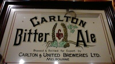 bar mirror carlton bitter ale 70cm X 46cm (1970's) in excellent condition