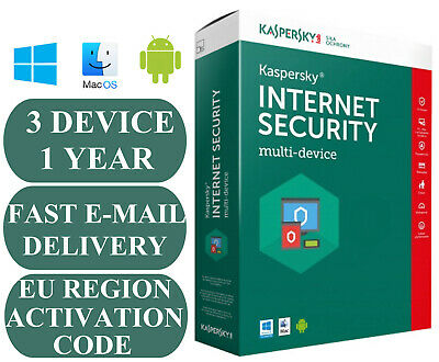 Kaspersky Internet Security 3 Device 1 Year Activation Code Eu Zone 2019 E-Mail