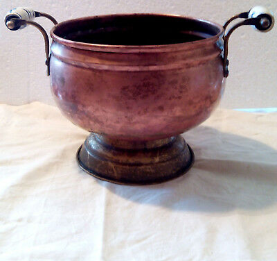 Sopera Cobre pegas porcelana - Copper Soup porcelain handles - Antique - Vintage