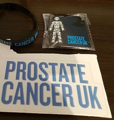 Brand New Prostate Cancer UK (MEN UNITED) Pin Badge/Wristband/Car Sticker Set !!