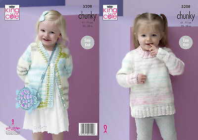 KNITTING PATTERN Girls Round Neck Cable Cardigan /& Jumper Chunky King Cole 4969
