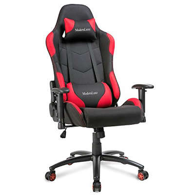 Modern Luxe Reclining Fabric Racing Office Chair Computer Gaming Chair Red