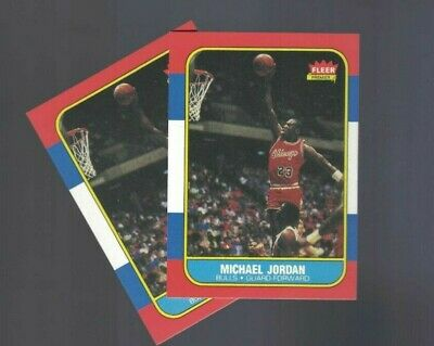 2 card Lot 1986-87 FLEER  #57 MICHAEL JORDAN ROOKIE REPRINT