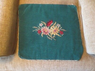 "Polished Cotton Floss FLORAL NEEDLEPOINT ON 14"" x 16"" GREEN - Design 5.5"" x 8.5"""