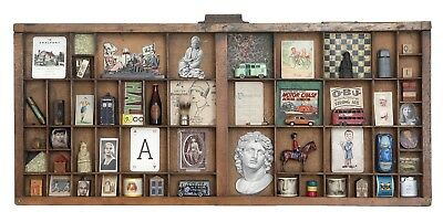 Wooden Letterpress Printers Tray Display Case Full of Small Vintage Collectables