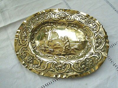 Charming & Unusual Antique French Repousse Brass Plaque Plate Farming Scene