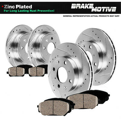 REAR 4 PERFORMANCE DRILLED BRAKE ROTORS AND 8 CERAMIC PADS P0348 FRONT
