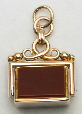Antique Victorian 9ct Yellow Gold Bloodstone & Carnelian Spinning Fob c.1898