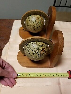 Vintage Old World Wooden Globe Book Ends, Office Decor, Library Decor