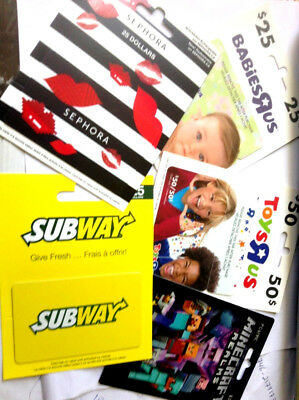 5X Mixed Gift Card Subway-Toysrus-Minecraft-Sephora,,---0---Balance W/hanger