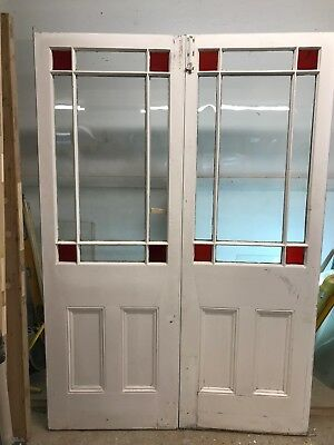 Victorian Stained Glass French Doors Old Antique Period Reclaimed Pine  Wood.