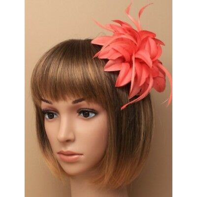 Coral red/peach pink or Mocha fascinator comb, ladies day, weddings
