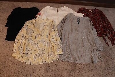 Lot: 5 Women's 2X Flowy Shirts/tops/tunic- Floral/embroidered/striped/white