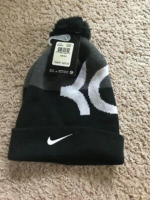 NIKE KEVIN DURANT Pom Beanie Unisex Youth Adult Hat Black Gray White ... f80ed8e792df