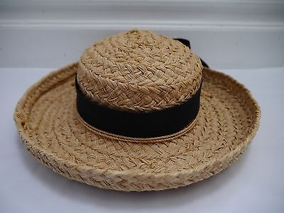 30bf8039402 NEW HELEN KAMINSKI natural crocheted braided raffia sun hat black ...
