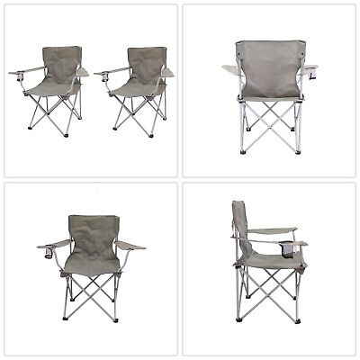 OZARK TRAIL Folding Camp Chair Quad Cup holder Tailgate Barbeque Steel Frame 2pk