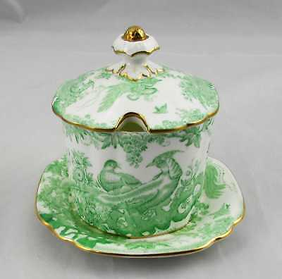 Royal Crown Derby Aves Covered Condiment Jar with Under Plate