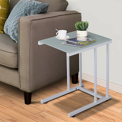 HOMCOM Sofa Side End Coffee C Table Laptop Stand Storage Tempered Glass Worktop