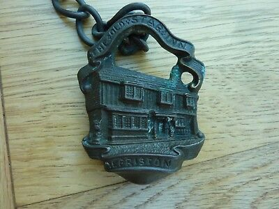 """Vintage Bronze Small Plaque On A Chain The Old Star Inn Alfriston 3 X 2.5"""""""