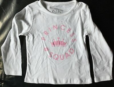 Baby Girls Long Sleeve White T Shirt with Princess Squad detail