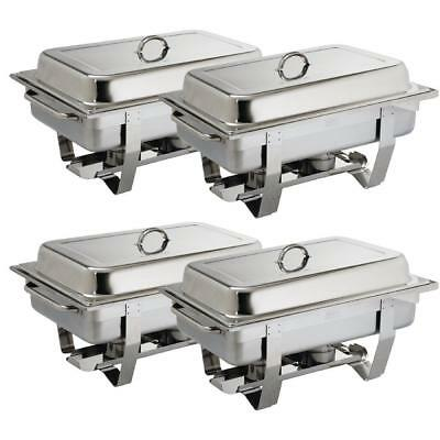 Stainless Steel Chafing Set 4 Pack Buffet Catering Dish Food Warmer 2 Fuel Tray