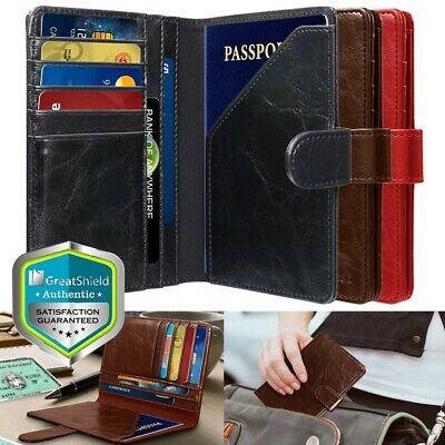 RFID Blocking PU Leather Travel US Passport ID Card Holder Wallet Cover Case
