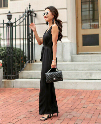 =NWT= NY Collection Petite Surplice Belted Wide-Leg Jumpsuit Black - SIZE: PXS