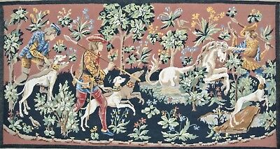 Vintage Hunting the Unicorn French SEG Needlepoint Completed Wool Chasse Licorne