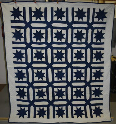 Blue and White Antique Quilt, Star in a Garden Maize #18488
