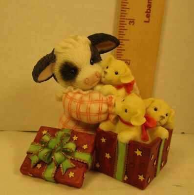 Mary's Moo Moos Girl With Gift Box Filled With Puppies Figurine 118278