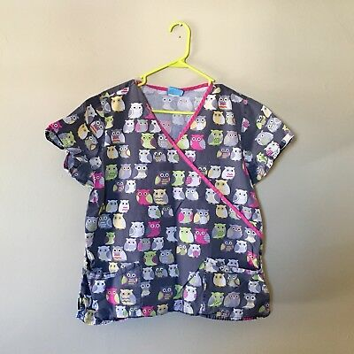 1fe04538826 Lot of Two Women Owl Print Scrub Tops Size Medium/Large Good Used Condition