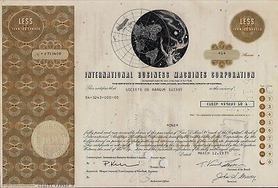 International Business Machine Corp. IBM stock certificate issued to Swiss bank
