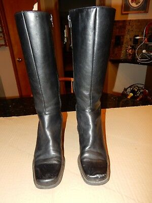 132c0250191 NATURALIZER HUNTER BLACK Leather Zip Knee High Riding Boots Womens ...