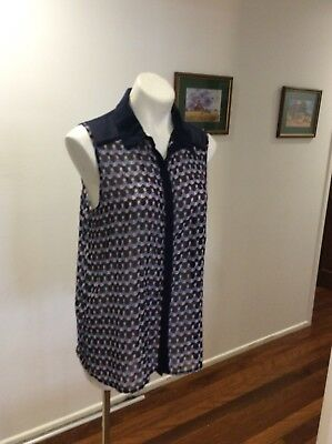 Womens Jeans West Sleeveless Blouse Sheer Top Size 12