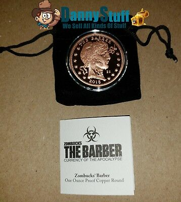 PROOF The Barber 1 oz .999 Copper Round Zombucks Series 2018 Only 10,000 Minted