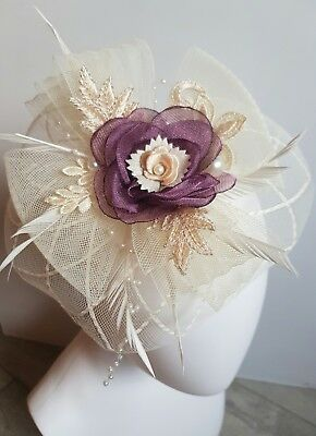 mother of the bride Fascinator,cream,feathers, hand made in most colours.