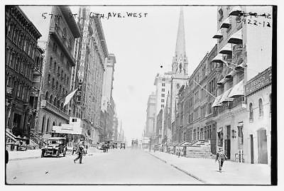 57th Street at 6th Avenue West,automobiles,pedestrians,Northern Hotel,Bain News