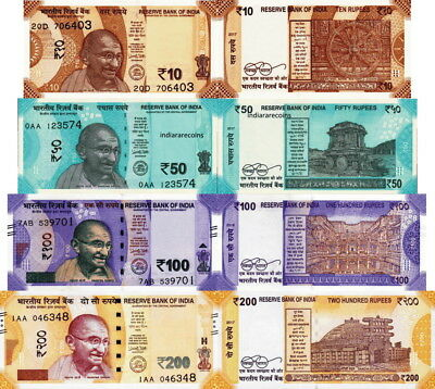 INDIA - Lotto 4 banconote 10/50/100/200 rupees 2017-2018 FDS - UNC