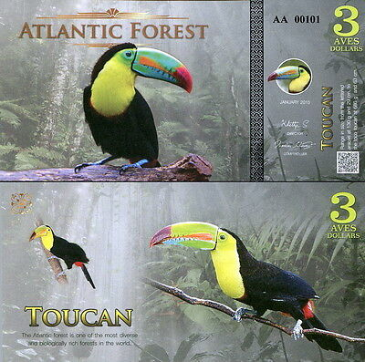 ATLANTIC FOREST - 3 aves dollars Tucano 2015 FDS UNC