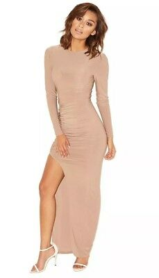 685488dc3a House Of CB MISTRESS ROCKS  SHE WOLF  TAUPE DRAPED MAXI DRESS Size Small