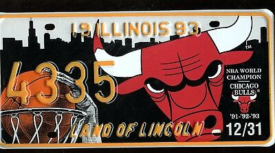 License Plate Illinois Chicago Bulls Souvenir Special Event Commemorative 1993