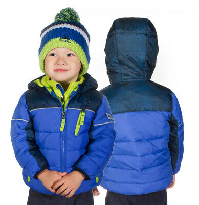 7105d6f78af Snozu Fleece Lined Blue Hooded Puffy Jacket with Pom Beanie for Boys - Size  4T