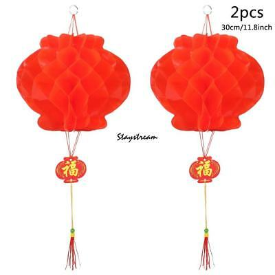 2 Pcs Chinese Red Paper Lantern Traditional Festival Hanging Decor Non-woven