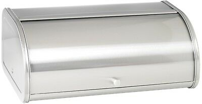 Counter Top Bread Box Brushed Stainless Steel Sliding Door 17.5 In Wide Silver