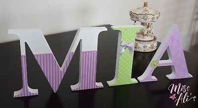 personalised standing wooden letters, hand painted and decorated letters