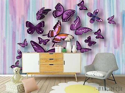 BUTTERFLY WALLPAPER GIRLS Bedroom Decor Pink White Teal ...