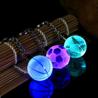 Crystal Ball 3D Engraved Key Chain Ring Keyring Keychain LED Glow Pendant new