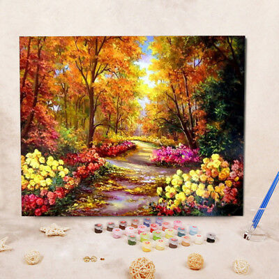 Hand-painted Owl Tree Flower DIY Oil Painting by Numbers Canvas Kits Home Decor